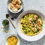 Grilled Scallops With Grilled Corn And Herb Oil Polenta