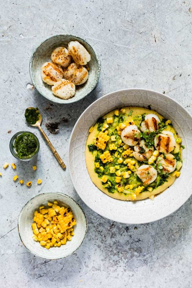 These gluten-free grilled scallops with grilled corn and herb oil polenta recipe is a great bbq recipe. This is awesome. recipesfromapantry.com
