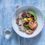Jerk Shrimps With Coconut Rice And Peas