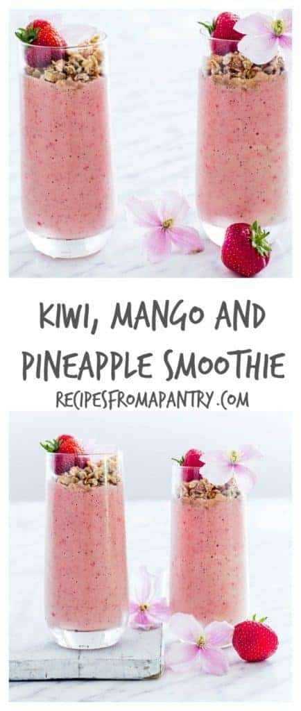 A kiwi, mango and pineapple smoothie with coconut milk and pineapple juice. And easy tropical smoothie recipe. Recipesfromapantry.com