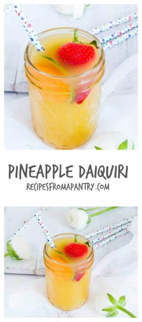 Pineapple daiquiri cocktail is super easy to make with pineapple juice, white rum, lime juice and some sugar syrup. African recipe. recipesfromapantry.com