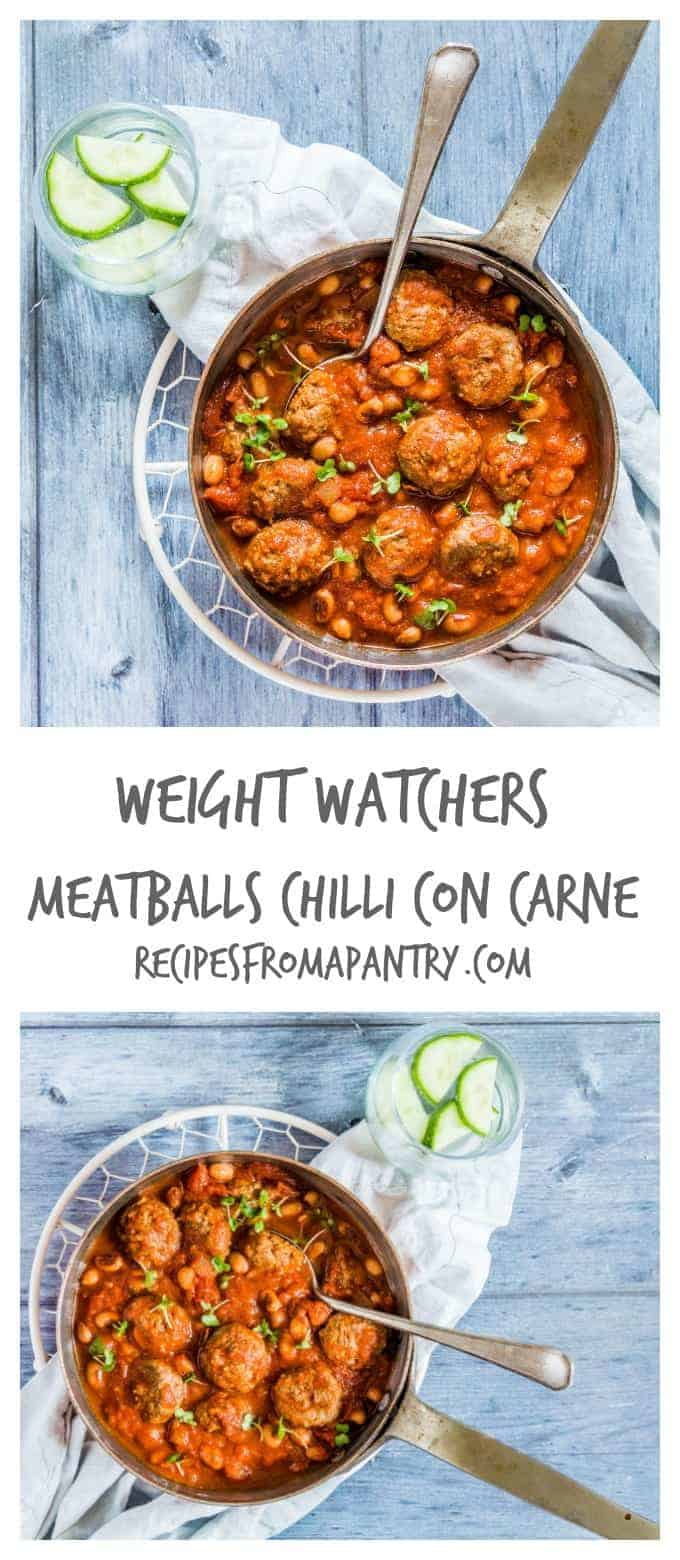 These Weight Watchers meatballs chilli con carne are an easy one pot recipe with lower fat and only 371 calories per serving. Recipesfromapantry.com