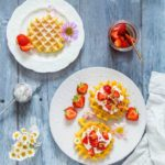 Marinated Strawberry Cheesecake Waffles