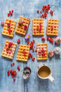 These crispy almond lemon waffles are an easy recipe to make and are perfect with a lovely cup of tea. recipesfrompantry.com