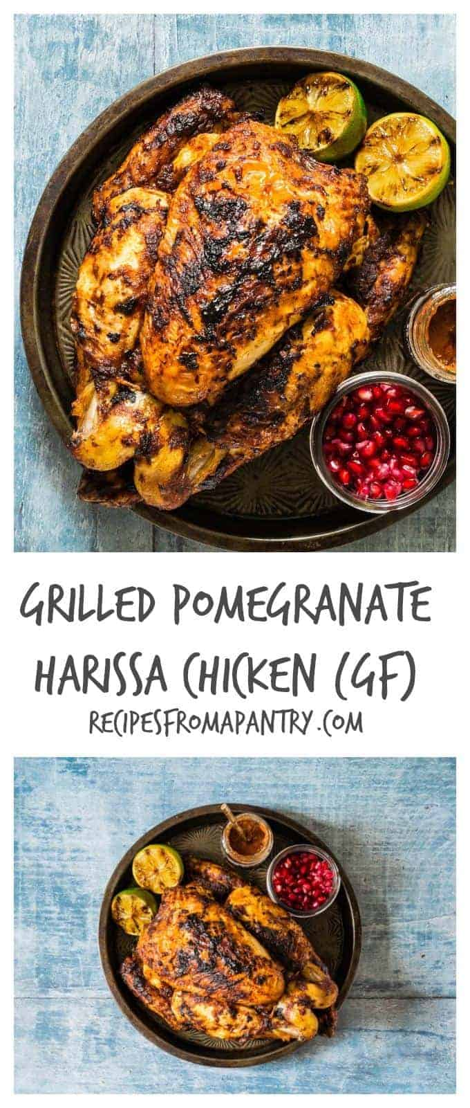 This grilled pomegranate harissa chicken recipe is just perfect for bbq's, picnics and week night suppers. Recipesfromapantry.com