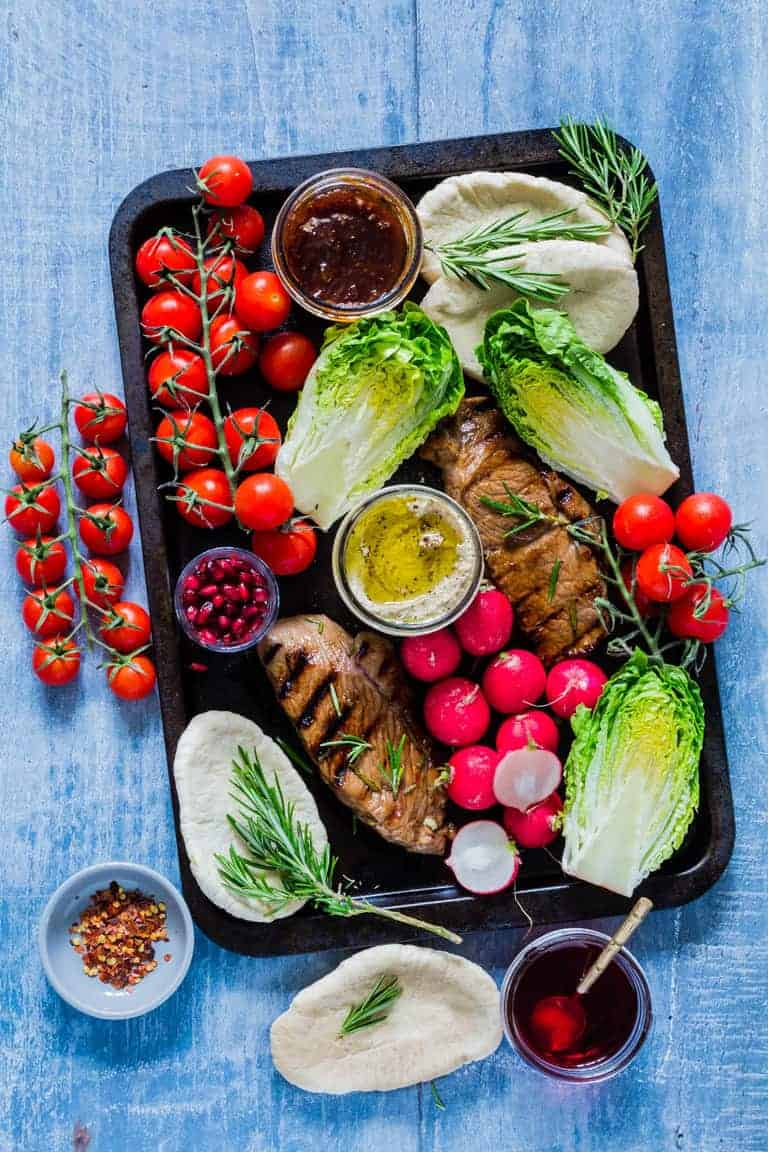 These awesome grilled herb pomegranate lamb steaks are made with just five ingredients. A perfect bbq recipe. Recipesfromapantry.com