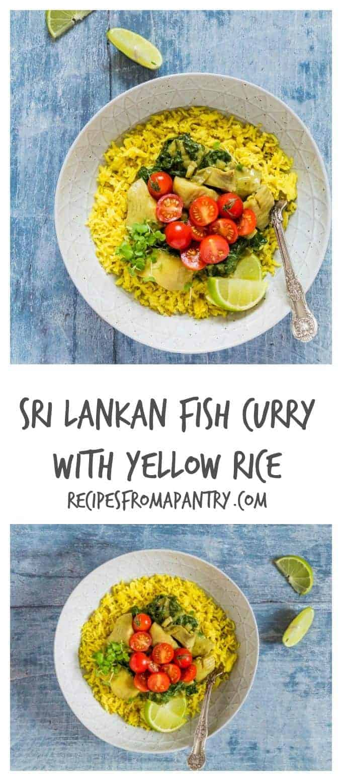 An authentic Sri Lankan fish curry with yellow rice and tomato salsa recipe. Perfect for sharing with friends and family. Recipesfromapantry.com