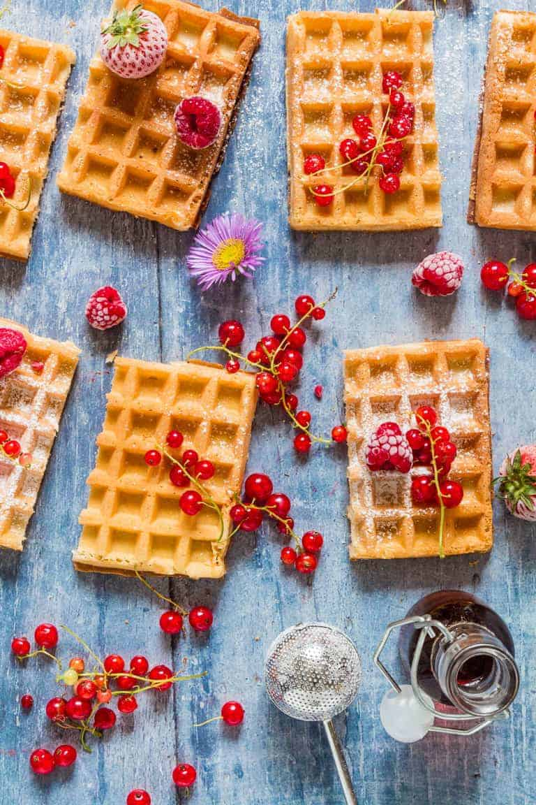 These crispy almond lemon waffles are an easy recipe to make and are perfect with a lovely cup of tea. recipesfromaantry.com