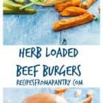 These herb loaded beef burgers are really tasty and packed full of flavour with parsley, coriander and basil and perfect for a BBQ. recipesfromapantry.com