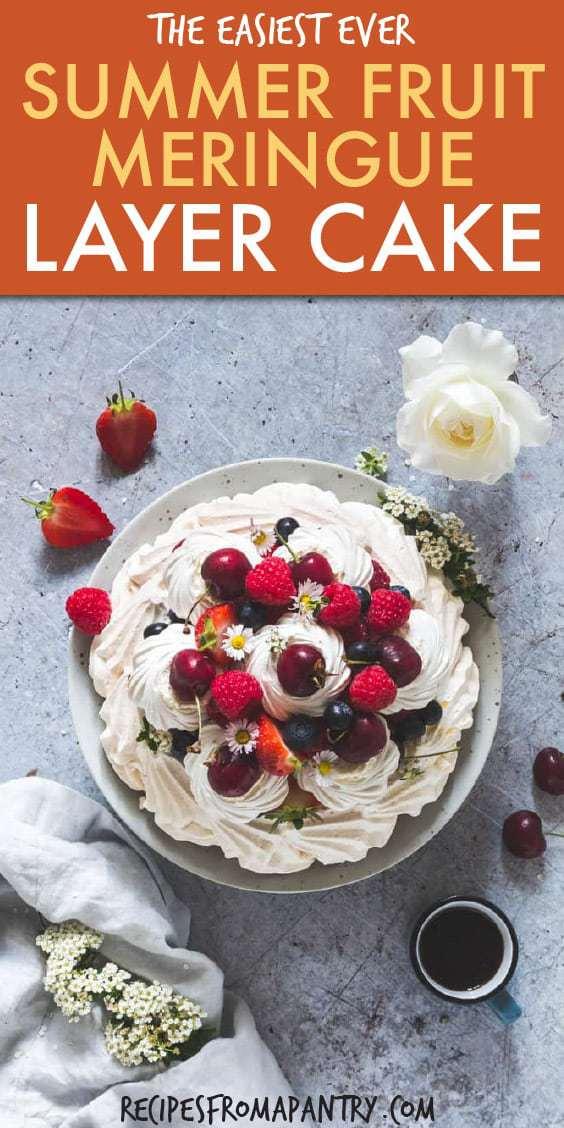 summer fruit meringue layer cake