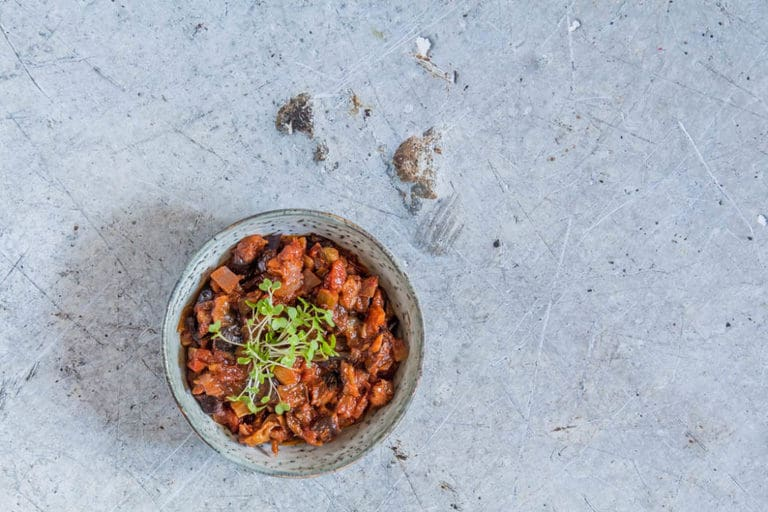 Drop everything and make this easy Caponata (vegan aubergine stew). This is a hearty filling recipe packed full of autumn vegetables. recipesfromapantry.com #caponata #auberginestew #eggplantstew