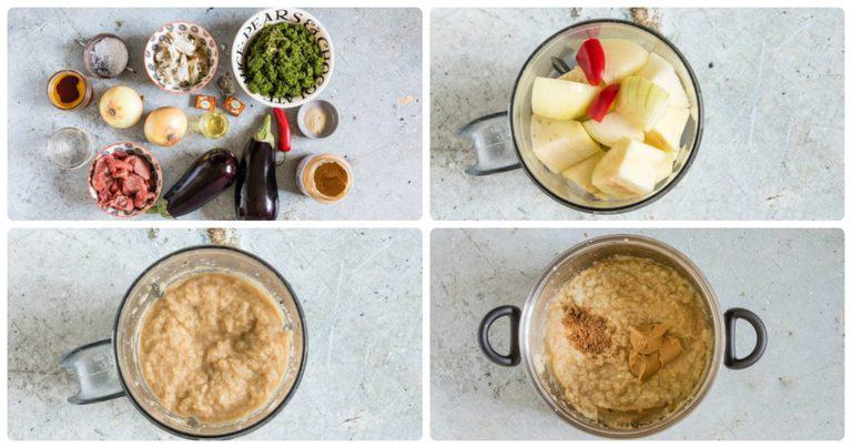 Collage showing how to cook cassava leaves sauce step by step. - the ingredients, then the onions and chill in blender, then onion paste in a blender, then the onion paste in a pot