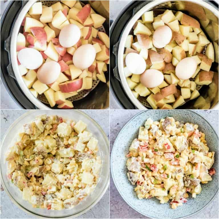image collage showing the steps for making instant pot potato salad