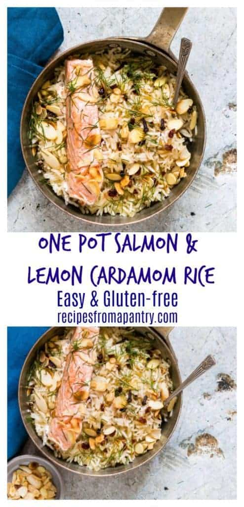 Need an easy weeknight recipe? Then check out this gluten-free one pot salmon with lemon cardamom rice. It is so, so good. recipesfromapantry.com