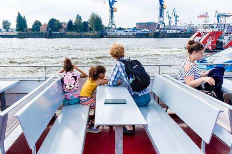On a ferry in hamburg port - City break guide to Hamburg packed full with top things to do in Hamburg, where to eat in Hamburg and why visit this habour town. recipesfromapantry.com #hamburg #thingstodoinhamburg #hamburgporttour