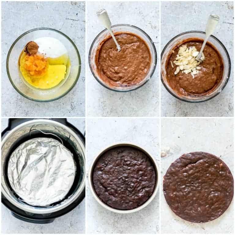 collage of step by step photos showing how to make instant pot brownies