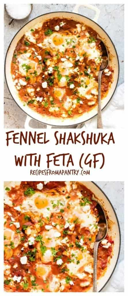 A simple and easy one pan fennel shakshuka with feta recipe, made entirely from pantry staples. Eggs cooked in a rich spiced tomato sauce. Recipesfromapantry.com #shakshuka #shakshukawithfeta #easyshakshuka #breakfastshakshuka #fetashakshuka
