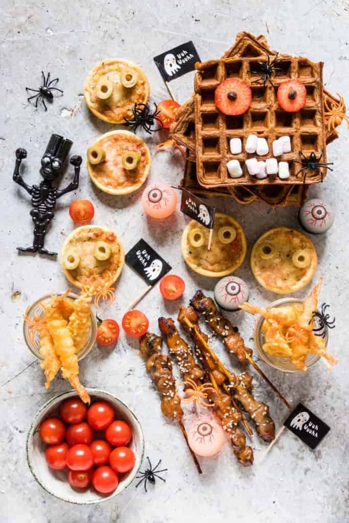 Delightfully fluffy & easy chocolate chip sweet potato waffles recipe with a Halloween twist your guests will love with party foods. See more at recipesfromapantry.com #sweetpotatowaffles #easysweetpotatowaffles #chocolatechipwaffles #sweetpotatochocolatechipwaffles #wafflerecipes