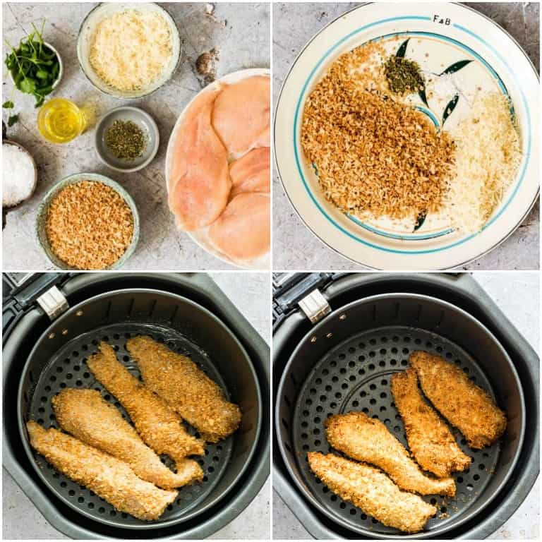 image collage showing the steps for making air fryer chicken tenders