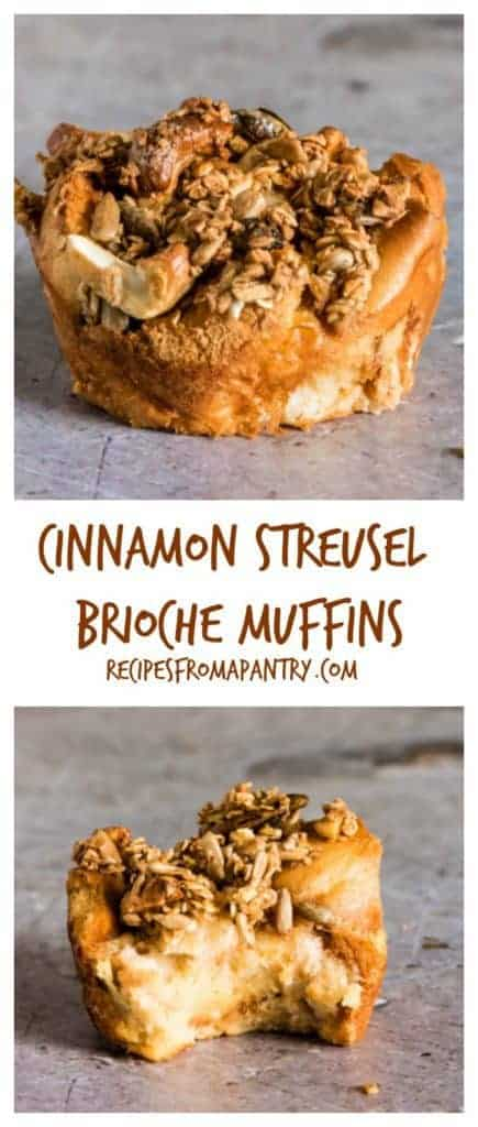 Super easy and delicious cinnamon streusel brioche muffins that everyone would love. They are gluten-free too. #glutenfree #briochemuffins #briochecups #glutenfreemuffins #cinnamonstreusel