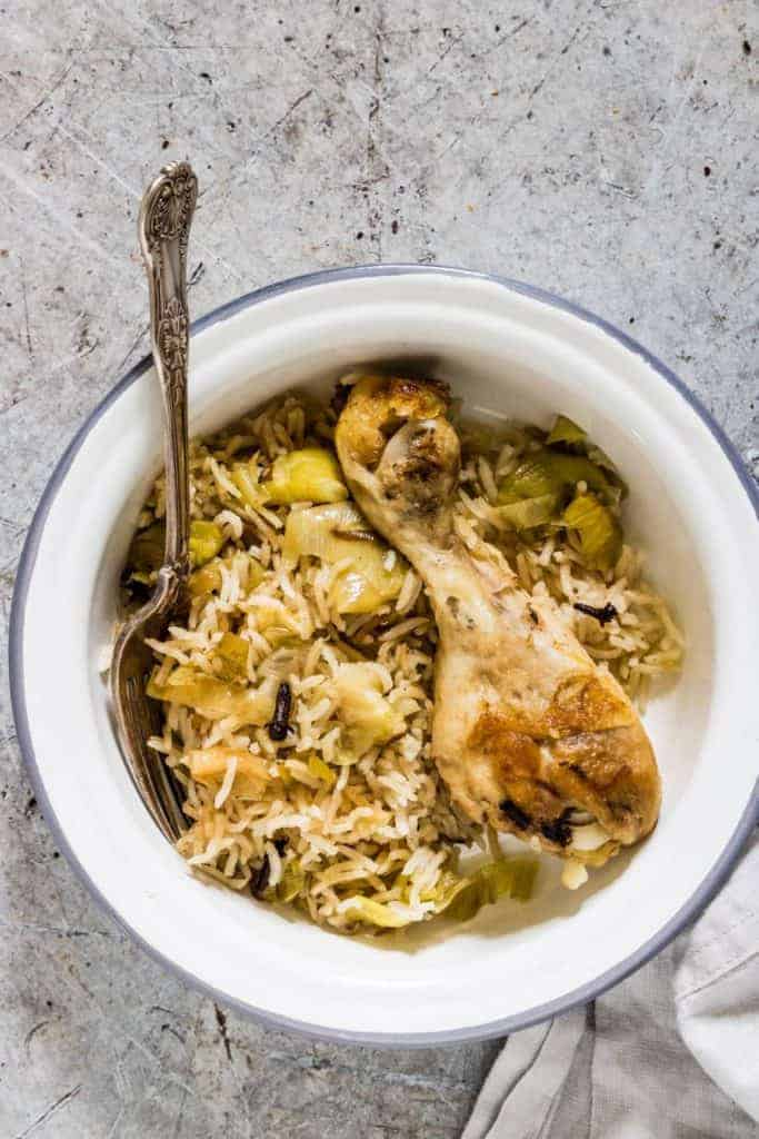 This one pot leek and chicken rice is delicious and easy to make recipe and is comfort food at its best. #onepotchicken #onepotrice #onepotrecipe #onepot dinner #onepotleekrice #onepotchicken rice