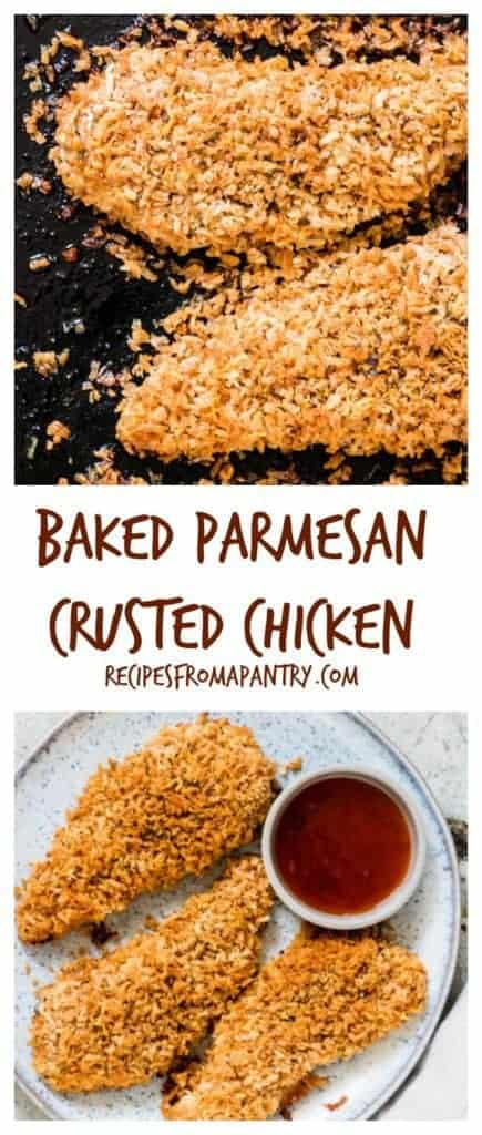 This golden and crunchy easy baked parmesan crusted chicken is ready in under 25. recipesfromapantry.com. #parmesancrustedchicken #parmesanchicken #bakedparmesancrustedchicken #easyparmesancrustedchicken #pankobreadcrumbs #parmesan #chicken #parmesancrustedchickenwithmayo