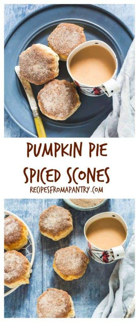 Easy scrumptious Pumpkin Pie Spiced Scones are made with only 6 ingredients. #spicedscones #scones #sconesrecipe #easysconesrecipes #pumpkinpiescones