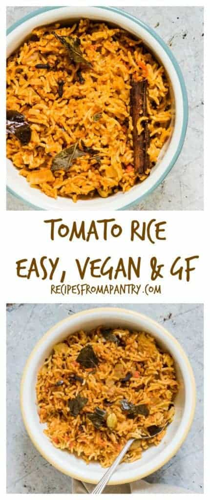 Easy south Indian tomato rice recipe with a picture tutorial so you can see how it is done - recipesfromapantry.com. #tomatorice #tomatoricerecipe #howtomaketomatorice #southindiantomatorice