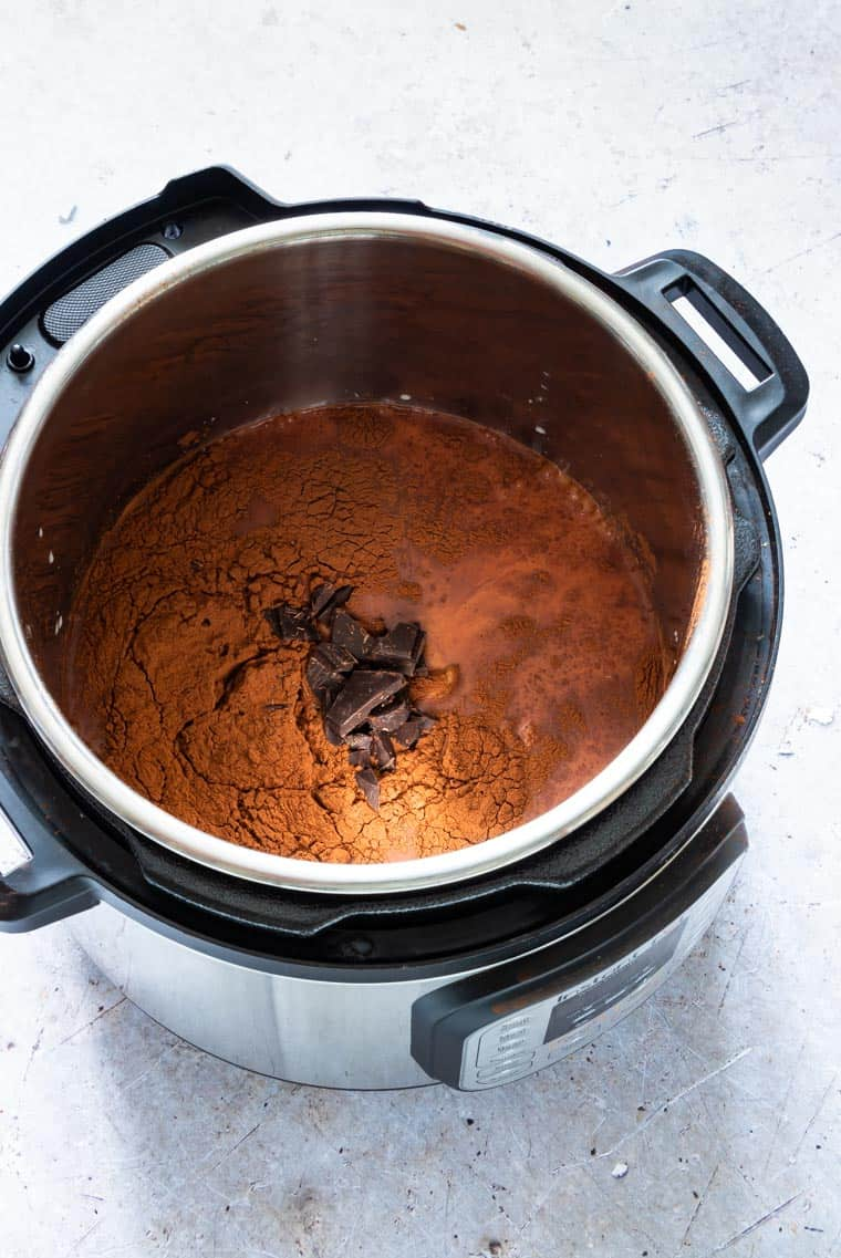 Ingredients to make instant pot hot chocolate in the instant pot