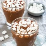 2 glasses of Instant Pot Hot chocolate with marshmallows
