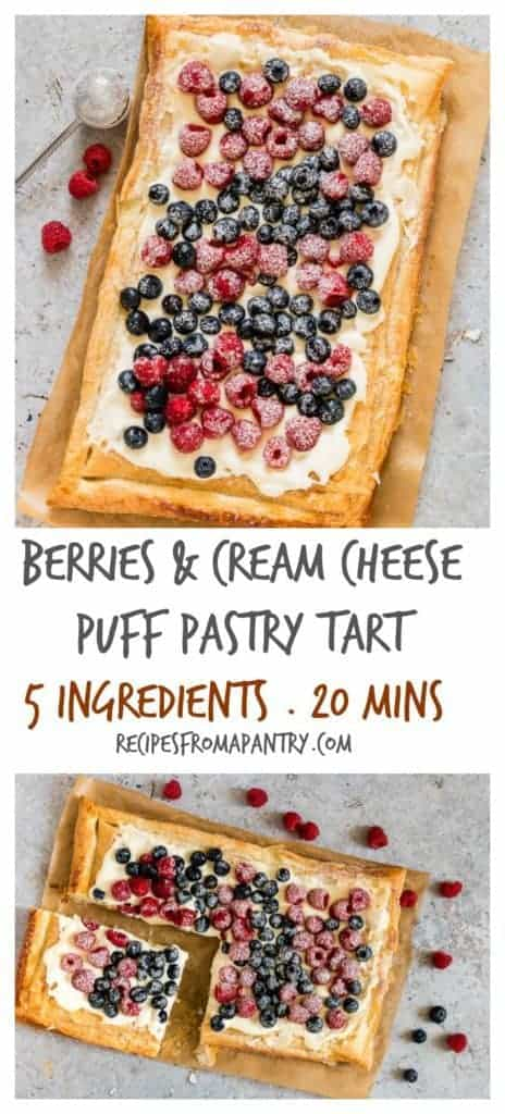 Berries and Cream Cheese Puff Pastry Breakfast Tart makes for a delicious and easy breakfast recipe you'll love. Topped with a layer of sweetened cream cheese, colourful berries, and icing sugar. A perfect puff pastry breakfast recipe. #breakfastrecipes #easybreakfastrecipes #creamcheese #breakfasttart #puffpastrybreakfast