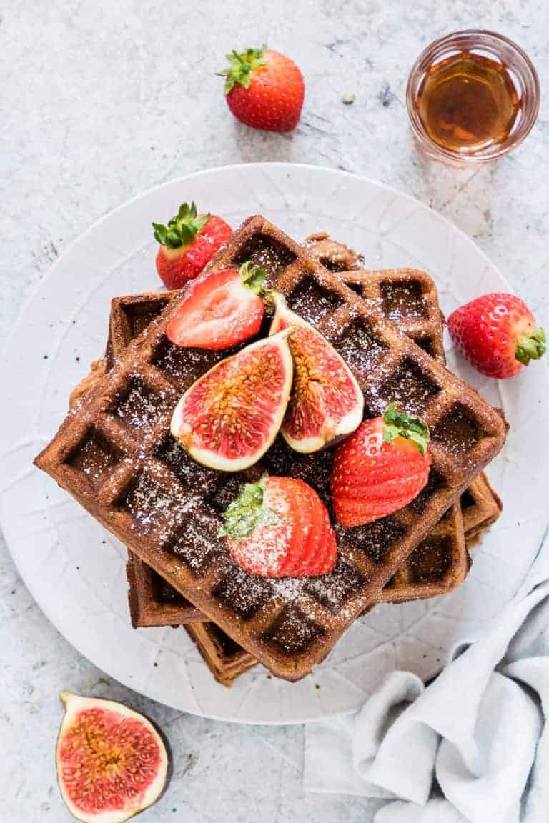 Gingerbread Buckwheat Waffles are amazing spicy-sweet waffles that will remind you of Christmas. A great Christmas recipe or holiday recipe. #wafflerecipe #gingerbreadrecipe #buckwheatflour #christmasrecipes #holidayrecipes #glutenfree #glutenfreewaffles #gingerbreadwaffles #buckwheatwaffles