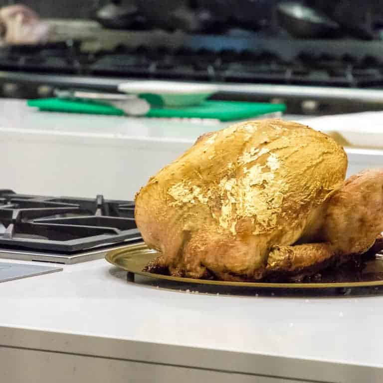 Iceland Foods gilded turkey on plate before serving christmas martini