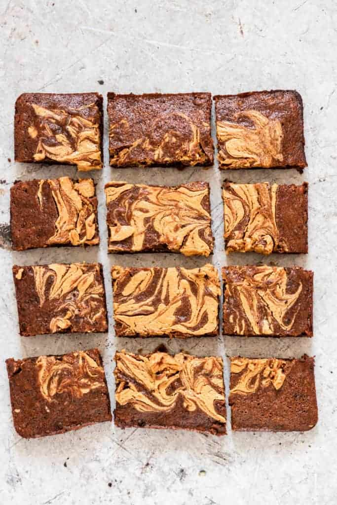 Banana brownies (vegan brownies) cut into 12 pieces
