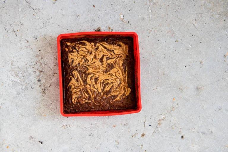 Pre-cut Banana brownies (vegan brownies) in a baking try