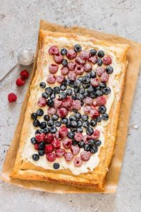 Berries and Cream Cheese Puff Pastry Breakfast Tart on baking paper