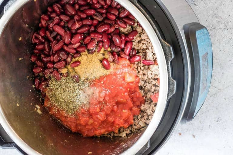 inside the inner pot of an instant pot to view instant pot chilli ingredients