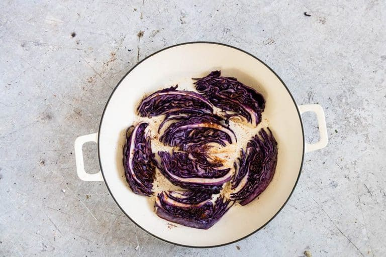 Baharat spiced Roasted red cabbage in a pot