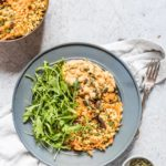 Harissa Hummus & Roasted Veg Freekeh Salad {Vegan}