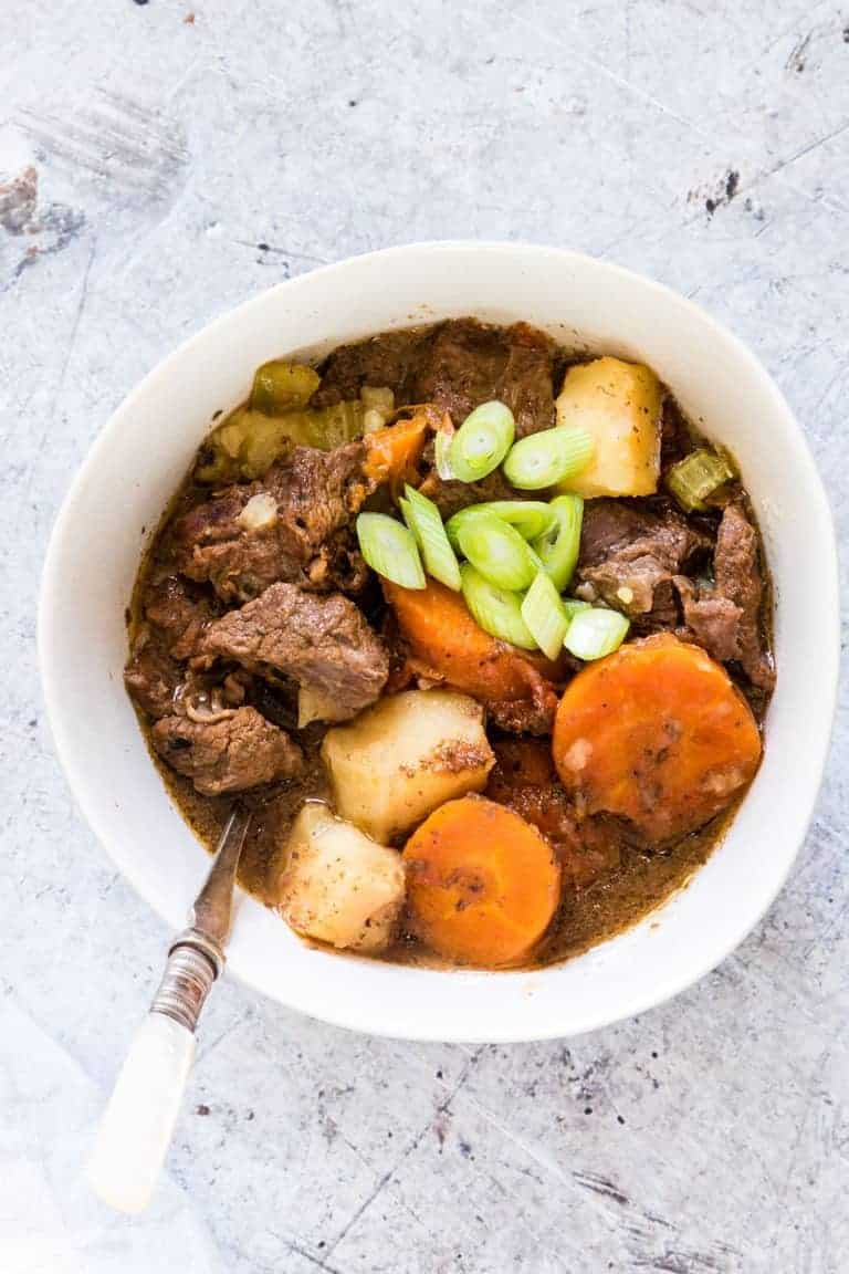 This warming, hearty and easy Instant Pot Beef Stew is quick and easy to whip up. #instantpotbeefstew #beefstew #instantpotstew #easyinstantpotrecipes #instantpotbeefstewrecipe #easyinstantpotbeefstew #glutenfreeinstantpotbeefstew #healthyinstantpotbeefstew #instantpotbeefstew #glutenfree #glutenfreerecipe #glutenfreebeefstew #glutenfreestew