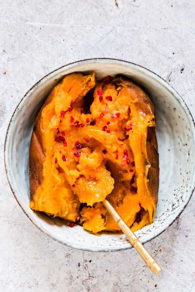 Instant Pot Sweet Potatoes (yams) are incredibly easy to make with only 2 ingredients and less than 30 mins