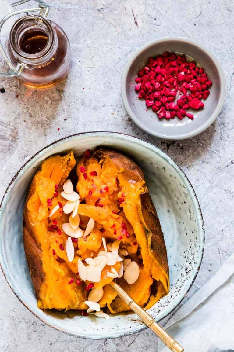 Instant Pot Sweet Potato with almonds and raspberries