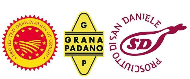 logos for grana padano and prosciutto di san daniele