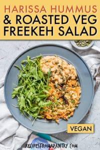 Harissa hummus with roasted vegetable freaked salad