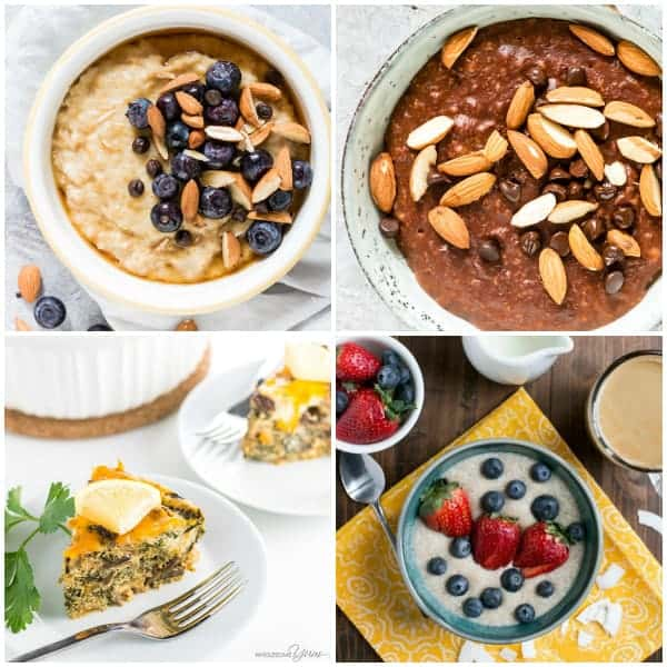 instant pot breakfast recipes collage of four breakfasts in the instant pot