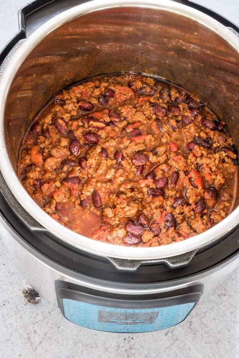 Instant Pot Chili in the instant pot inner pot with lid off