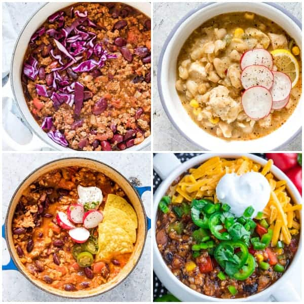 instant pot recipes collage of four instant pot chili recipes in pots