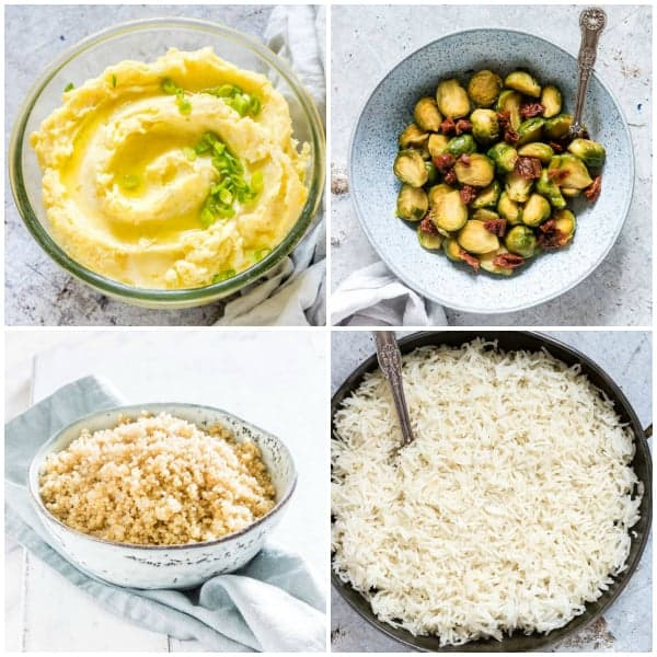 instant pot recipes collage of four side dishes in bowls
