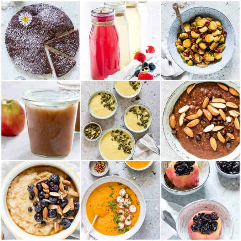 nine instant pot recipes for vegans in a collage of vegan recipes