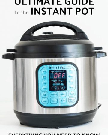 instant pot on grey background with text above and below for instant pot review